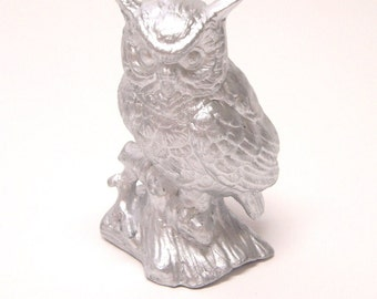 Upcycled vintage silver painted ceramic owl figurine
