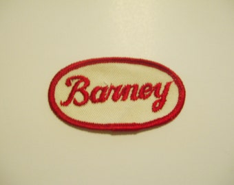 "Vintage Embroidered Name Patch - ""Barney"" small oval"