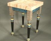 Showroom Sale: 1290.00-now-800.00  Butcher Block Table - Blue