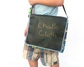 Chalkboard Children Messenger Bag, Kokka Blue Canvas Frogs Bag, Chalk Cloth Kids Bag, Back To School Supplies