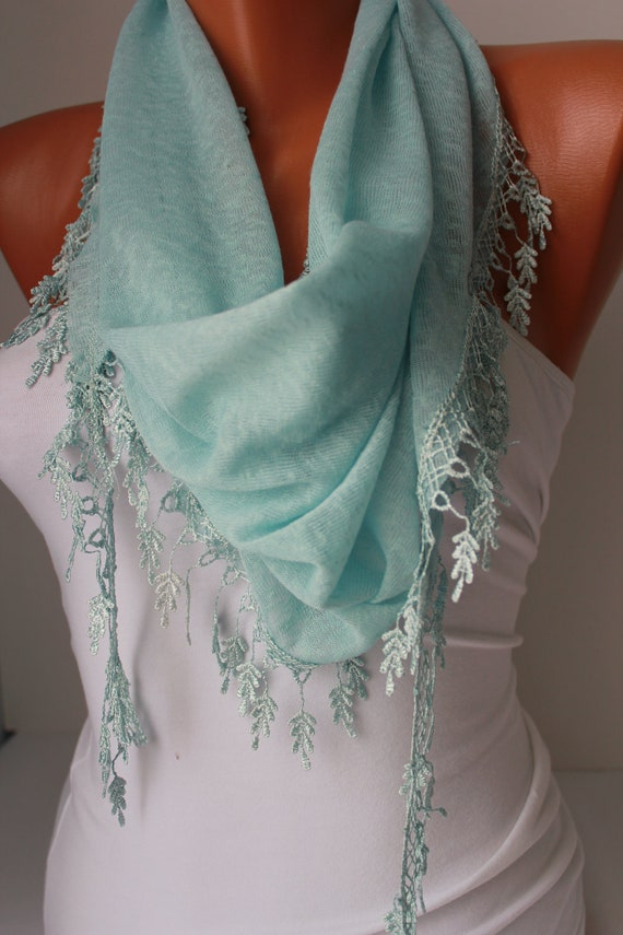 ON SALE Blue Shawl Scarf - Headband Cowl with Lace Edge