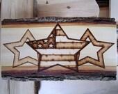 Rustic American decor - Star and  Flag Art - Primitives Patriotic Americana