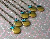 Bridesmaids Gift Lockets, Swallow Sparrow, Antique Finished,  verdigris Bird Lockets- Set Of Seven
