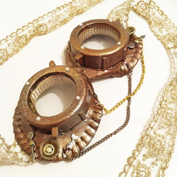 Lace Steampunk Goggles by NBetween on Etsy