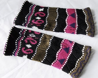 Upcycled sweater arm warmers Coogi style COTTON fingerless gloves multi color stripe paisley mitts vegan womens L XL texting artist gloves