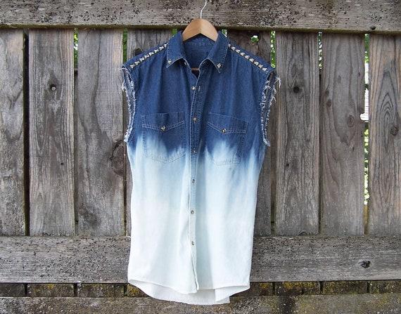 Half bleached studded button up denim shirt grunge dip dye ombre tunic cut off sleeve muscle tank unisex men women denim vest blue chambray