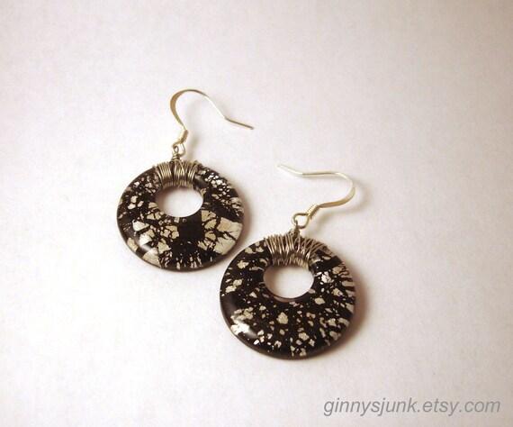 Black with Silver Specks Earrings - Donut Earrings - Wire Wrapping