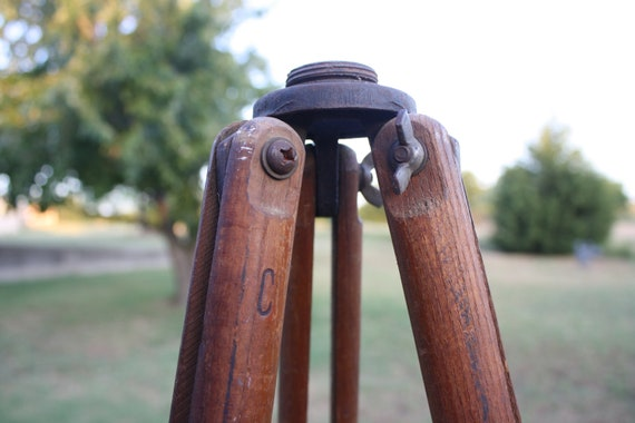 Vintage Wood Surveyors Tripod - Wooden Base for Industrial Lighting