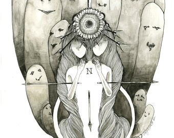 Look Towards the Sun and You Won't See The Shadows black and white Fortune Illustration