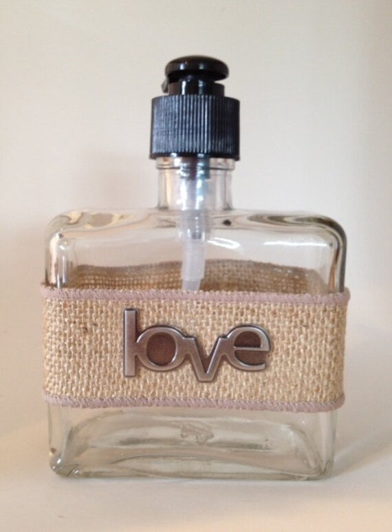 Rustic, Shabby Chic Burlap Wrapped Soap/Lotion Pump with Metal Love Embellishment
