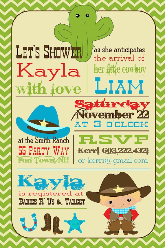 cowboy baby shower invitation cowboy shower invite brown blue