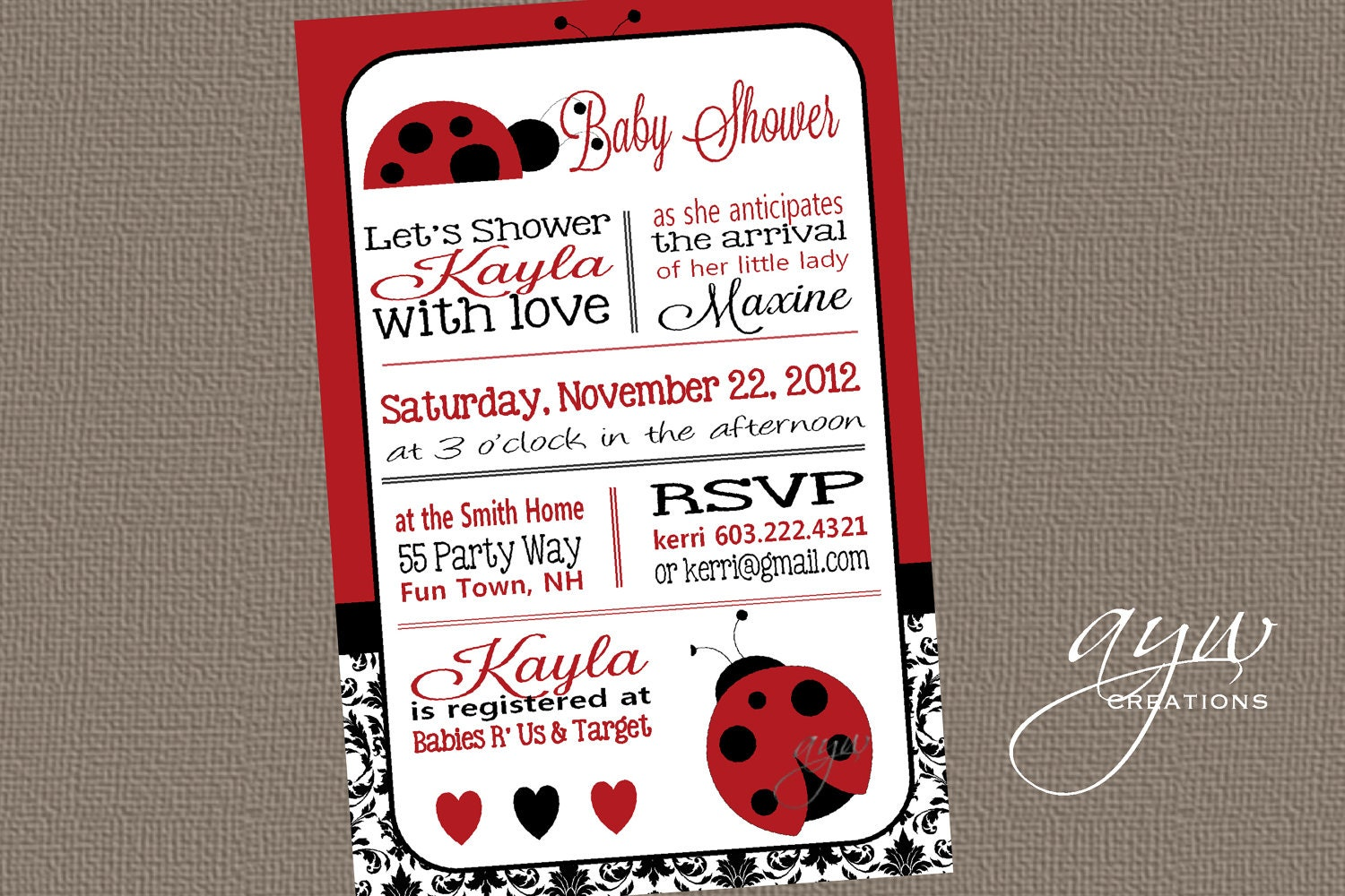 Ladybug Baby Shower Invitation could be nice ideas for your invitation template