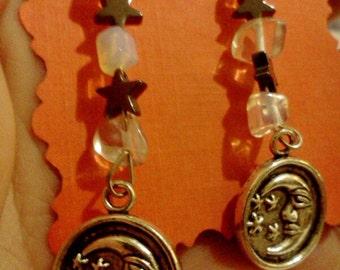 Moon and stars celestial earrings