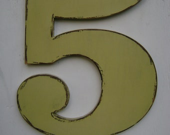 """large number 5  anniversary gift ,birthday wall hanging decor 18"""" tall 3/4"""" thick"""