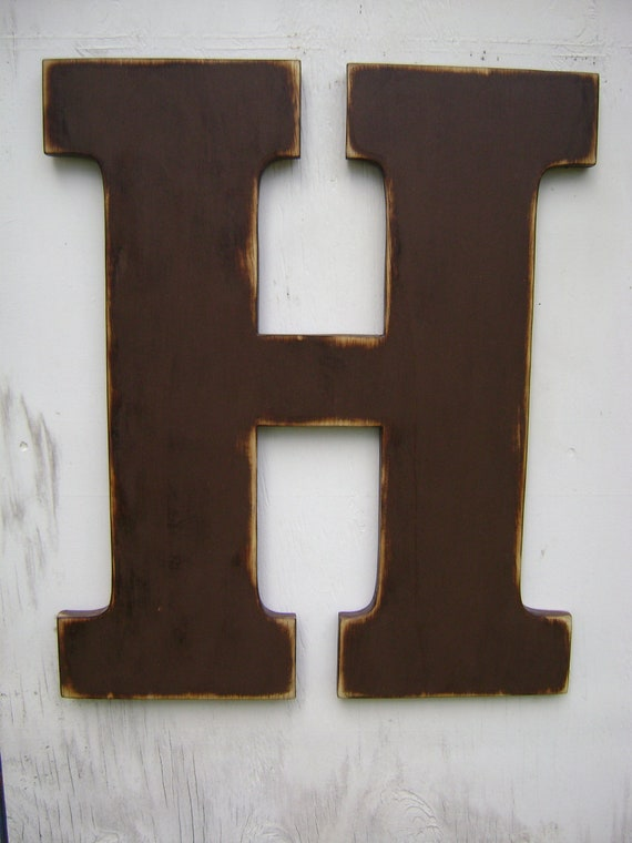 Large wood letter H letter sign initials wall hanging decor