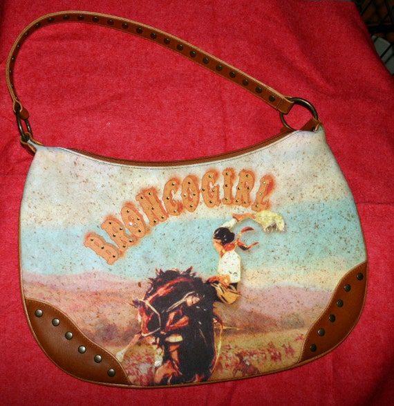 vintage, from the 70s, 80s, maybe early 90s purse, western bronco girl, enhanced with sequins and studs