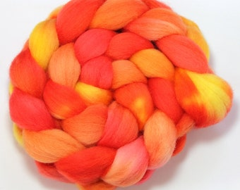 SALE - Handpainted Roving - The Girl Who Was On Fire - Falkland Wool, 4 ounces.