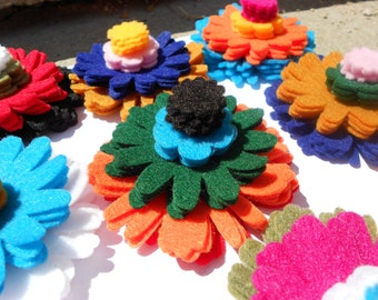 192 pieces-12 colors- 4 sizes- 4 of each size- Hacienda color collection 2 - mexican adobe colors felt crafts felt flowers felt flower