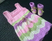 Set of baby dress and booties, knitting, baby dress, baby booties, baby clothing, multi colored, pink, lilac, white, green , new born gifts