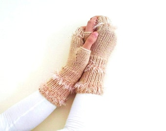 Womens accessories, womens gloves, Hairy long fingerless gloves in beige, valentines day, gift for her, winter fashion, Christmas gift ideas