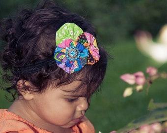 colorful yoyo cluster headband , headband , head band