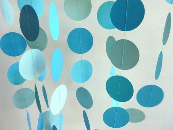 Paper Garland, Blue, birthday party decoration, 10'