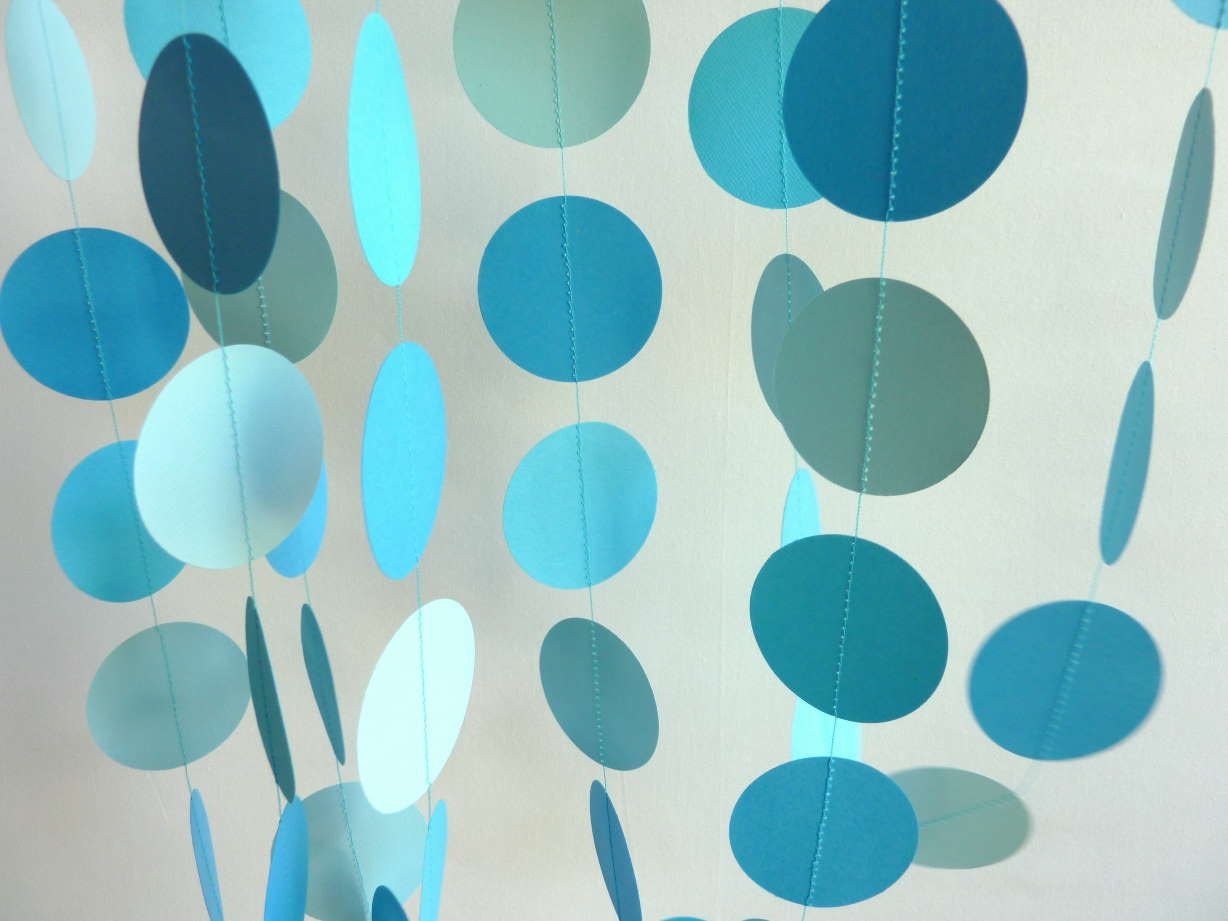 Paper Garland Blue Birthday Party Decoration 10