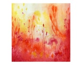 Reserved for Ashley CLEARANCE-8x8 Abstract Watercolor print - Red, Yellow, Orange Palette