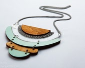 Statement necklace, Geometric Jewelry, Geometric necklace in light blue and wood,Geometric Jewelry