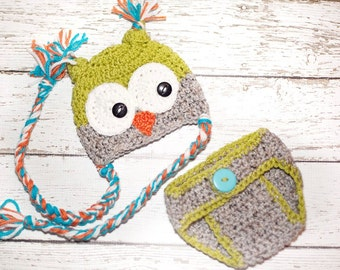 Crochet Owl Hat with diaper cover - Celadon green, gray, orange and teal - Photography Prop - 13 inch size - Made to order
