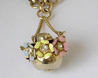 Floral Charm Bracelet Enchanting Vintage Gold Tone Hanging Flowerpot Rosebud Center Rhinestones Pastel Enamel 3 Dimensional Detailed