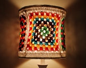 RESERVED Colorful Lampshade Granny Square Crochet Hippie Red Green Blue Brown Tones Unique Housewares Home decor lighting