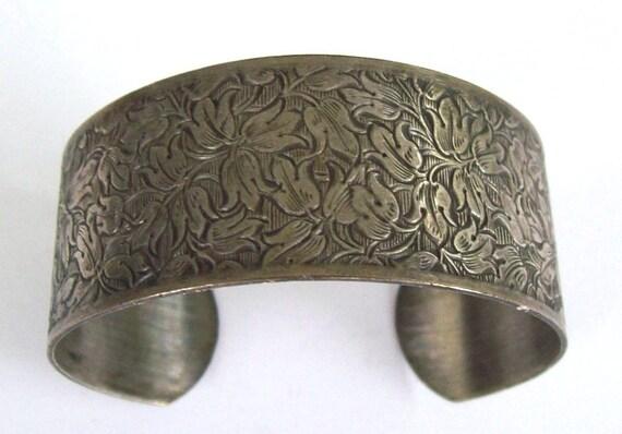 Vintage Pewter Cuff Bracelet Floral Art Nouveau Style