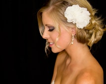 Bridal Hair Flower Duo in Organza, 3.5 & 2.5 Inch Wedding Hair Clip, White or Ivory, Style 2013, Made to Order