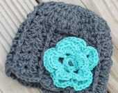 Newborn baby hat with crochet flower - grey and turquoise
