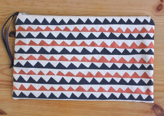 Screen printed large pouch - metallic copper and charcoal - handmade