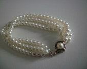 Vintage Multistrand Faux Pearl Bracelet Jewelry, Wedding Jewelry, Signed FM,Vintage Bride