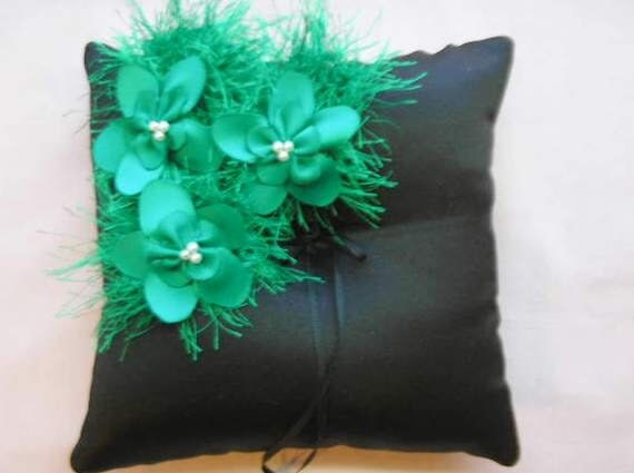 Black Ringbearer's Pillow - Emerald Flower Pillow - Ring Bearer's Pillow - Ringbearer's Pillow - Black Green Wedding