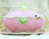 ENDING SOON Spectacular Soup Tureen from Italy, Large Pink and Green Tureen Set, 4 piece by Jay Willfred