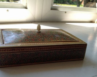 Arabic-design wood-inlay box, red velvet lining