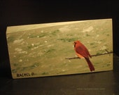 Wintery Wonderland Northern Cardinal by artist Rachel Dickson original acrylic paintings on wood