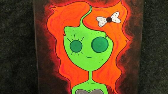 Zombie Girl 10x8 Acrylic Zombie Canvas Painting- Glows in the Dark!