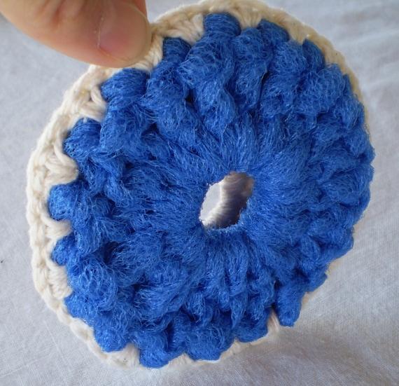 Reserved for Michelle__SCRUBBIE Bright Blue Tulle with Ecru Color Cotton Yarn Non Abrasive Kitchen/Bath Eco-Friendly