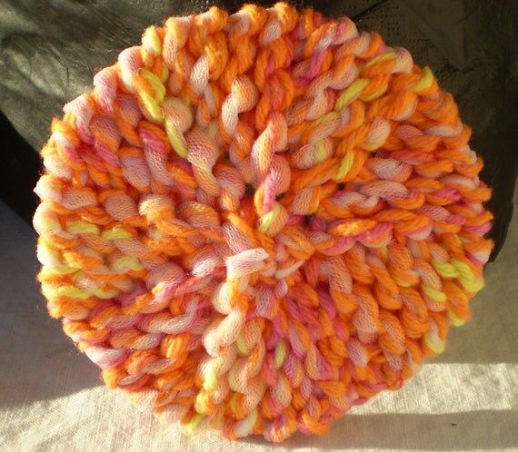 Knitted Dish Cloth Scrubbie - Hand Made, Cotton Yarn, Tulle - Hot Orange, Playtime with White Tulle / For Kitchen or Shower