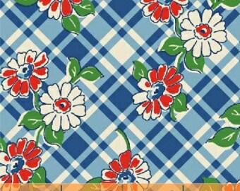 Blue floral plaid floursack reproduction