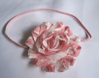 Pink and White Baby Headband, Baby Girl Headbands, Infant Headbands, Baby Bow, Infant Bow, Newborn Headbands, Girl Headbands