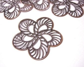 8pc 50mm antique copper filigree fancy wraps-5410