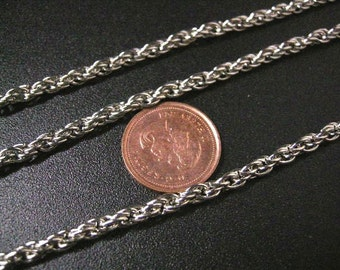 5 feet 3mm platina look rope chain lead nickel free-5559