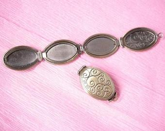 1pc antique bronze finish photo locket pendant-5700