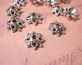 20pc 9mm antique silver flower bead caps-5758